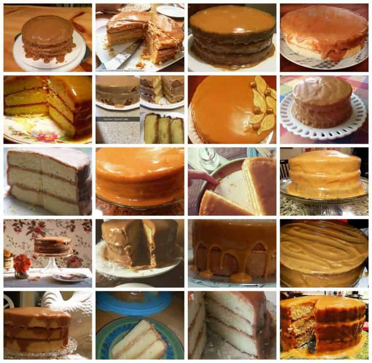 A Collage of Many Different Caramel Cakes from Grandbaby Cakes followers over the years.