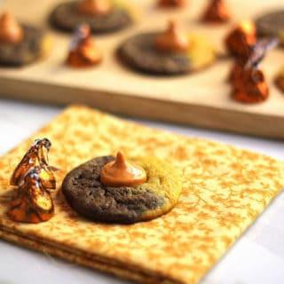 Pumpkin Chocolate Swirl Kiss Cookies