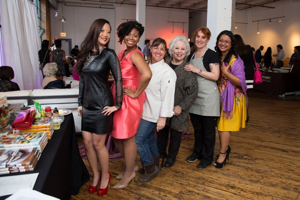 """Photo by Katie Basil. Left to Right Soo Eng, Jocelyn Delk Adams, Gale Gand, Ina Pinkney, Mindy Segal and Johanna """"Momma Cuisine"""" Cook"""