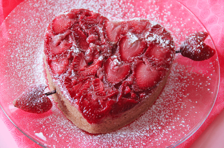 heart shaped strawberry upside down cake