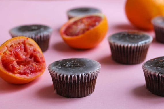 blood orange chocolate cupcake