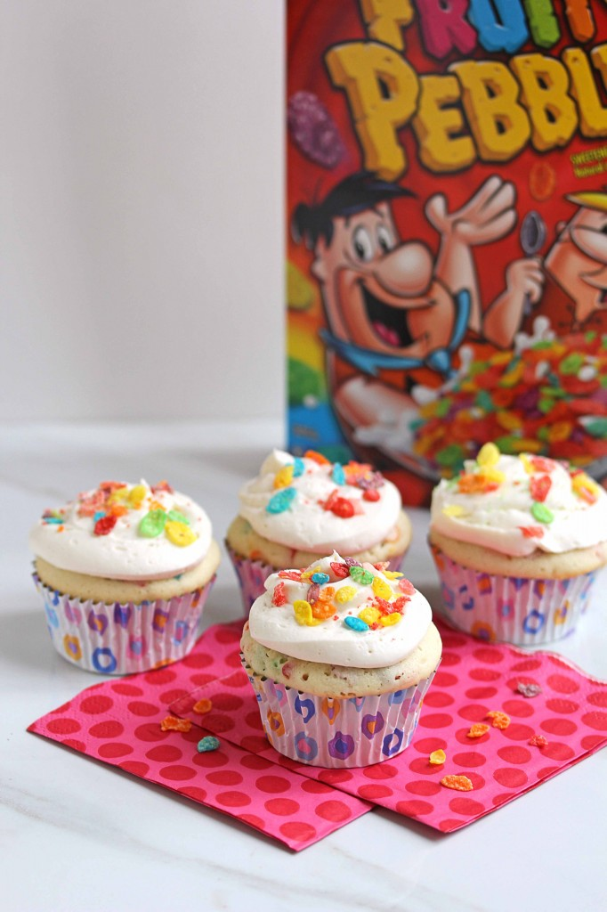 fruit pebble cupcakes