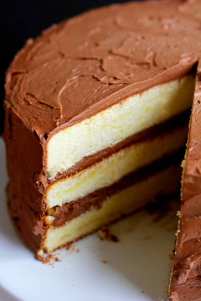 Yellow Butter Cake With Chocolate Frosting