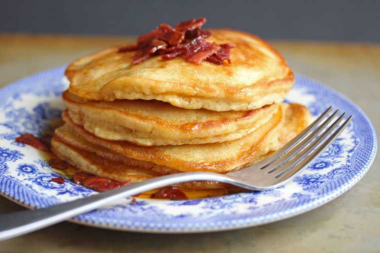 Brown Sugar Pancakes with Bacon Maple Butter - Grandbaby Cakes