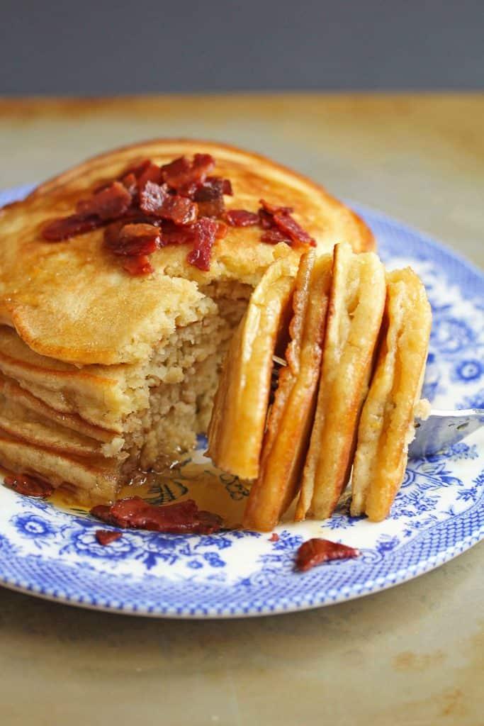 brown sugar pancakes 3 683x1024 - Brown Sugar Pancakes with Bacon Maple Butter