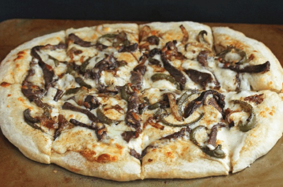 philly cheesesteak pizza1 570x377 - Philly Cheese Steak Pizza