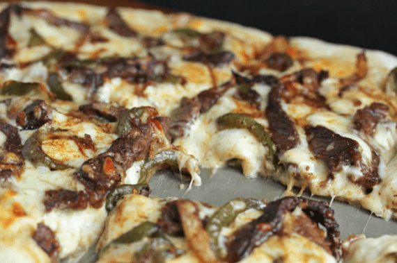 philly cheesesteak pizza2 570x379 - Philly Cheese Steak Pizza