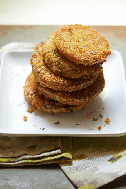 Fried Green Tomatoes Recipe stacked on top of one another.