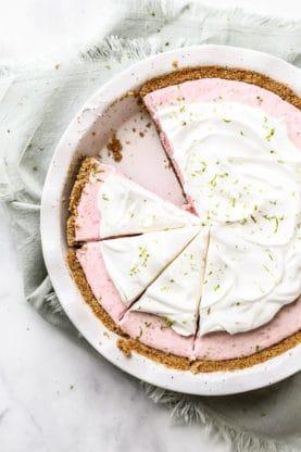 Labor Day Recipes - Overhead of Strawberry Margarita Pie slices