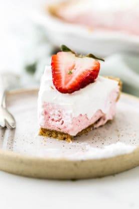 A slice of Strawberry Margarita Pie half eaten