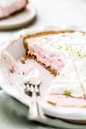 Slices missing from Strawberry Margarita Pie