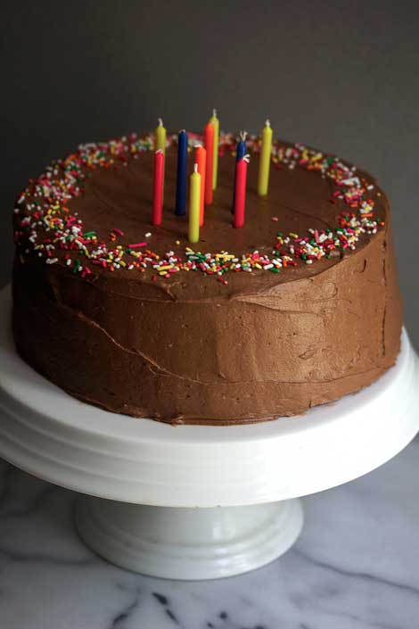 Soft, moist, decadent chocolate cake covered with creamy, delicious chocolate frosting...that perfectly describes this chocolate birthday cake!