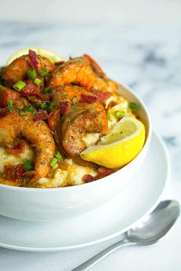 shrimp and grits1 - New Orleans BBQ Shrimp and Grits Recipe