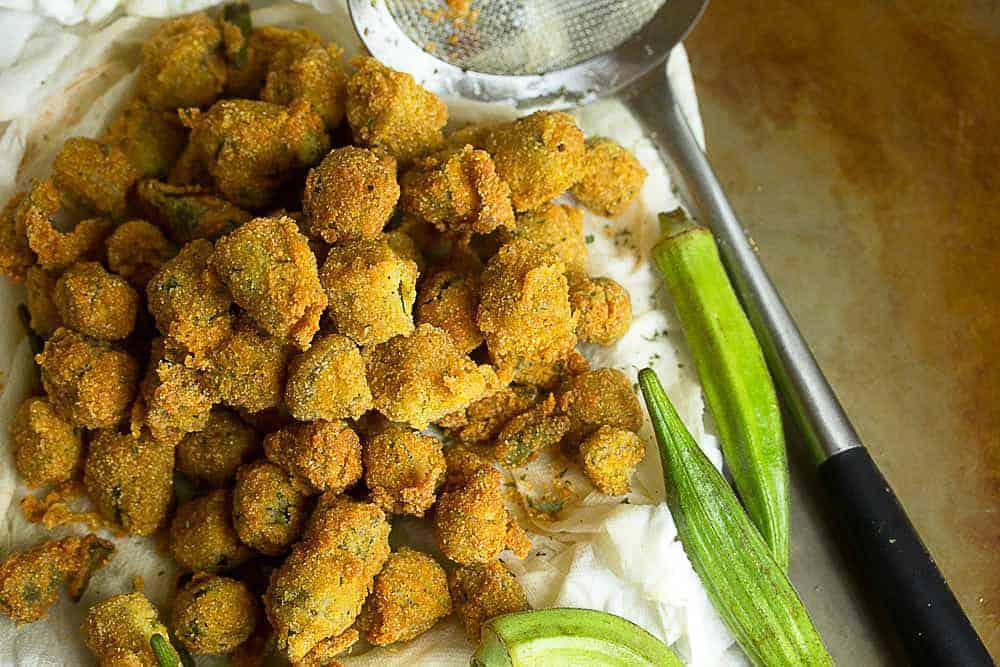 Southern Pan Fried Okra Recipe | Grandbaby Cakes