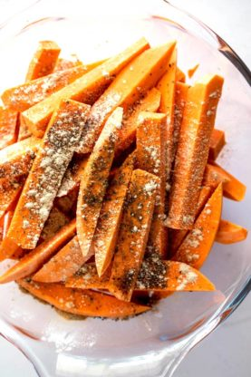 Sweet potato fries 2 277x416 - Garlic Butter Sweet Potato Fries