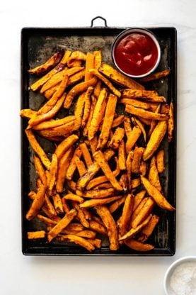 Sweet potato fries 6 277x416 - Garlic Butter Sweet Potato Fries