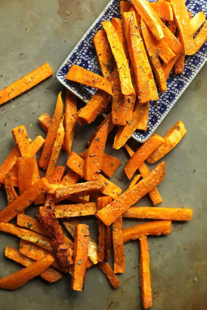 sweet potato fries topped with garlic butter