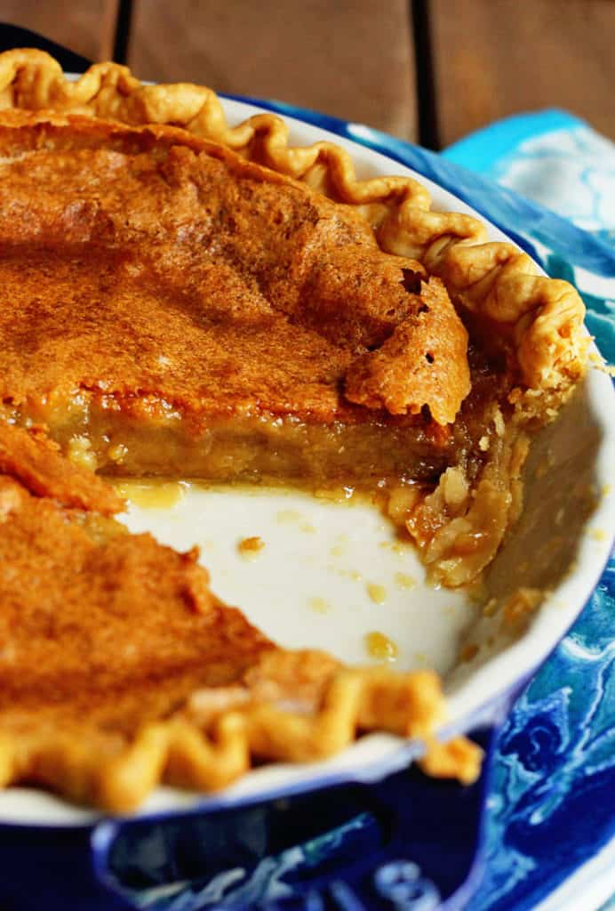 Chess Pie Recipe with a slice missing.
