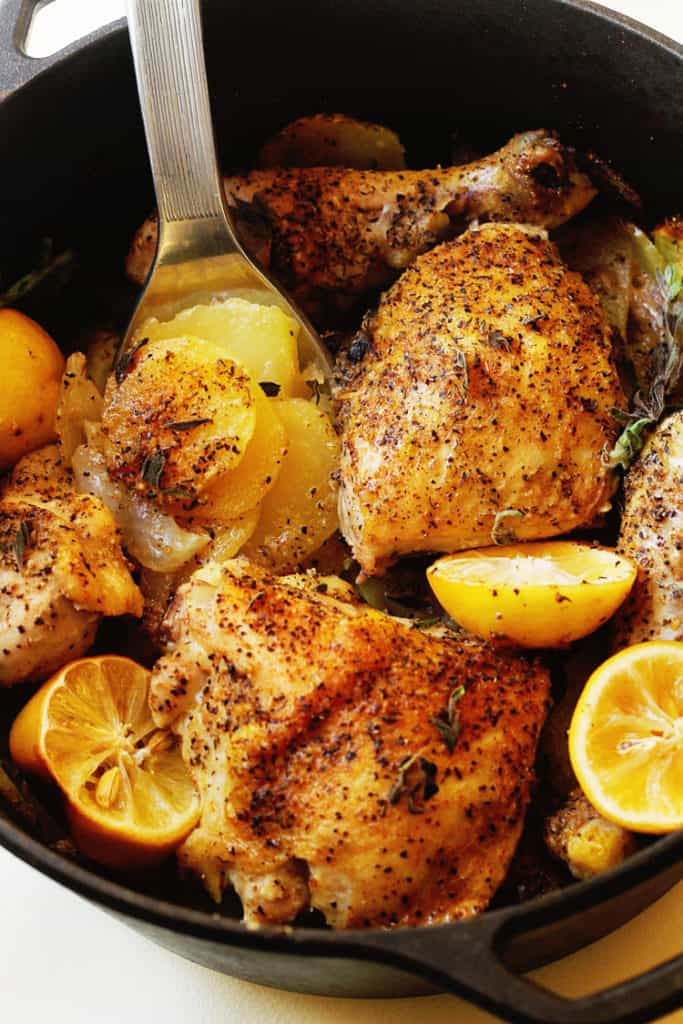 Lemon Roast Chicken and Potatoes | Grandbaby Cakes