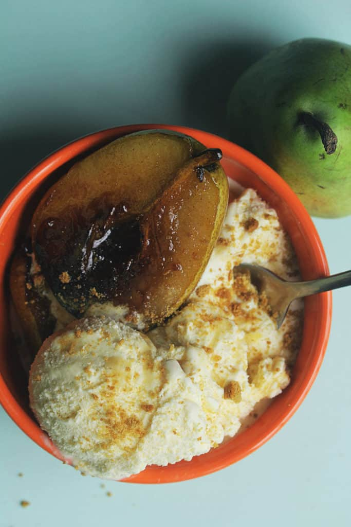 Maple Bourbon Ice Cream with Sauteed Pears - Grandbaby Cakes