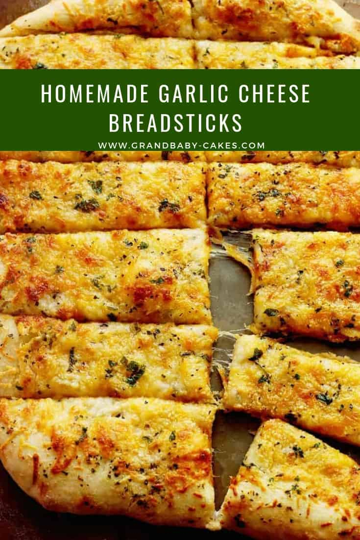 If you go to your local pizzeria and order the garlic cheese breadsticks, then you will adore making these even better (way better) at home! #garlic #garlicbread #breadsticks #bread #cheese #pizza