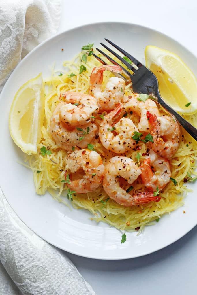 Light Shrimp Scampi with Spaghetti Squash - Grandbaby Cakes