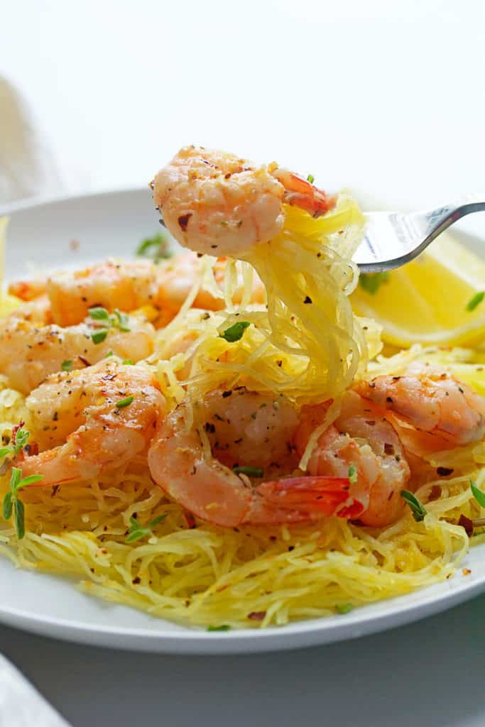 Light Shrimp Scampi with Spaghetti Squash | Grandbaby Cakes
