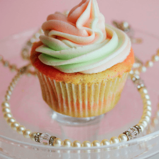 Pink and Green Vanilla Cupcakes