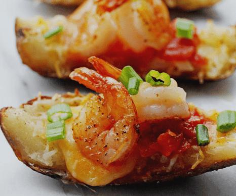 Shrimp Nacho Potato Skins and the BEST Super Bowl Recipes | Grandbaby Cakes