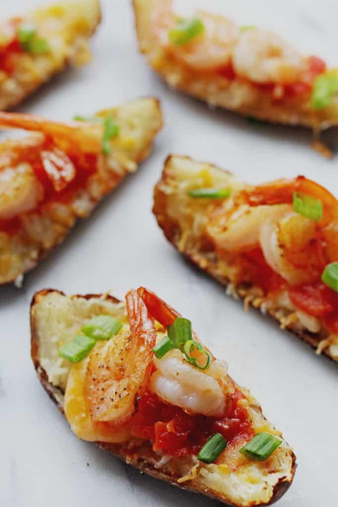 Shrimp Nacho Potato Skins are the best potato skins ever made!