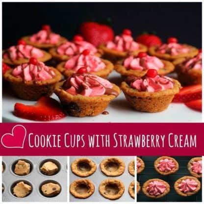 Pillsbury Cookie Cups with Strawberry Cream | Grandbaby Cakes
