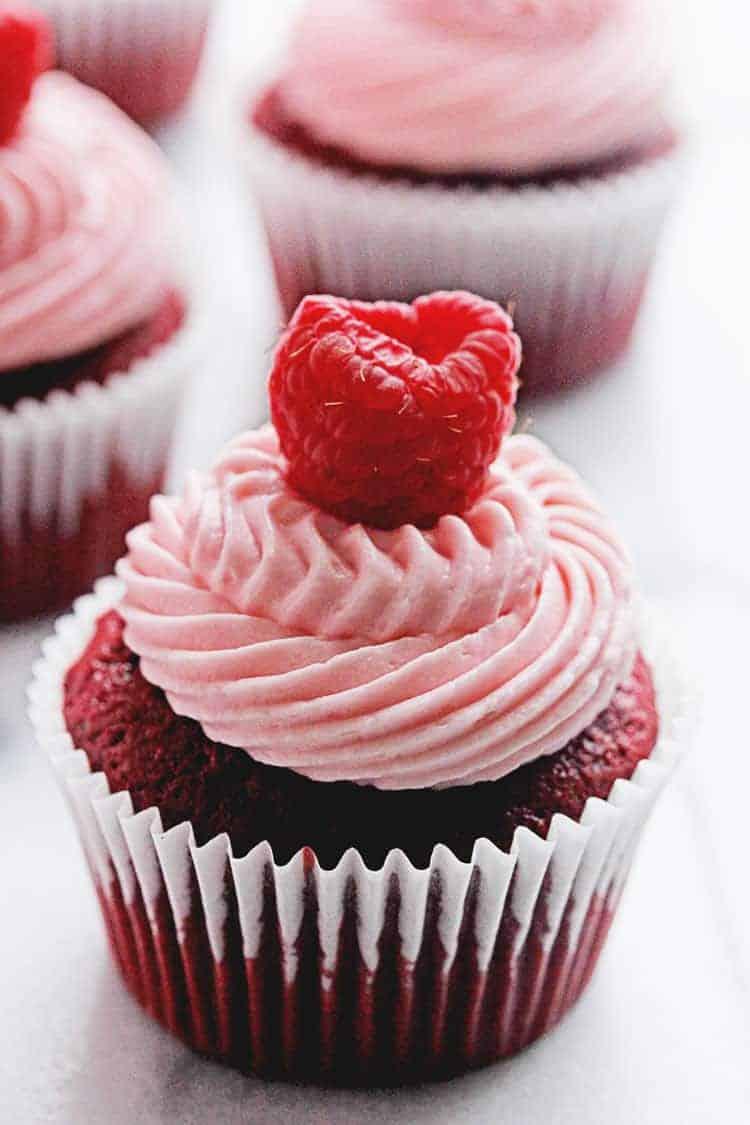Red Velvet Raspberry Cupcakes | Grandbaby Cakes