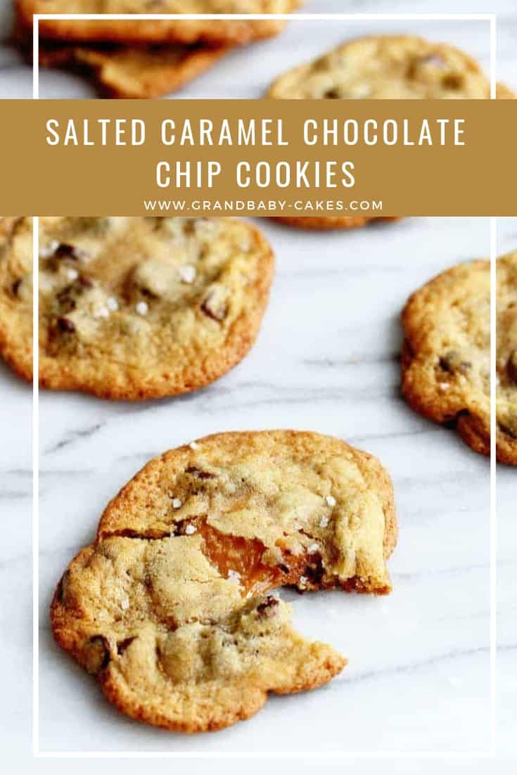 My perfectly chewy and delicious salted caramel chocolate chip cookies will become your favorite cookie recipe ever!  A classic gets an update when stuffed with caramel and topped with sea salt. #cookies #chocolate #chocolatechip #recipe #caramel
