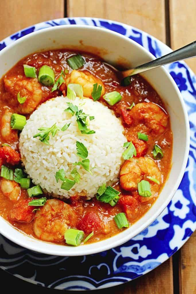 Shrimp Etouffee with rice in a bowl.