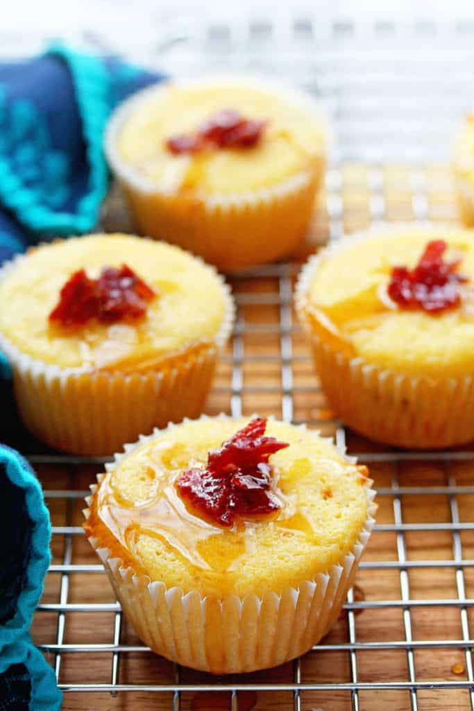 Maple bacon corn muffins with a lovely moist texture, hints of pure maple syrup and bits of crisp bacon throughout. The most comforting bread ever!