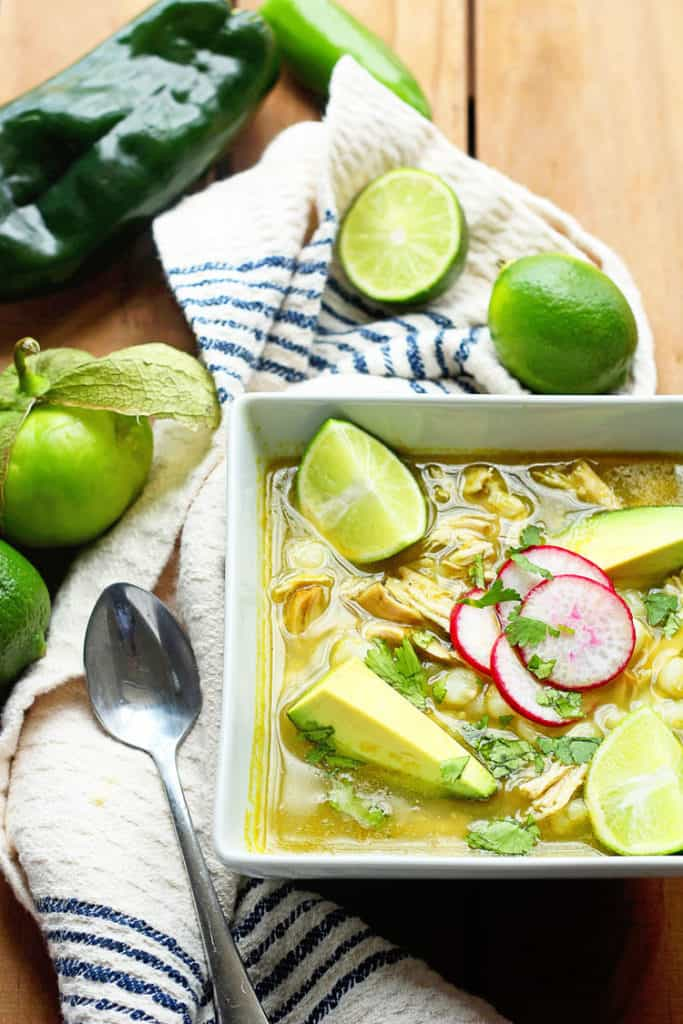 A Traditional Chicken Pozole Verde (Pozole Recipe or Posole) made with comforting hominy, spicy peppers, flavorful chicken and so much love.