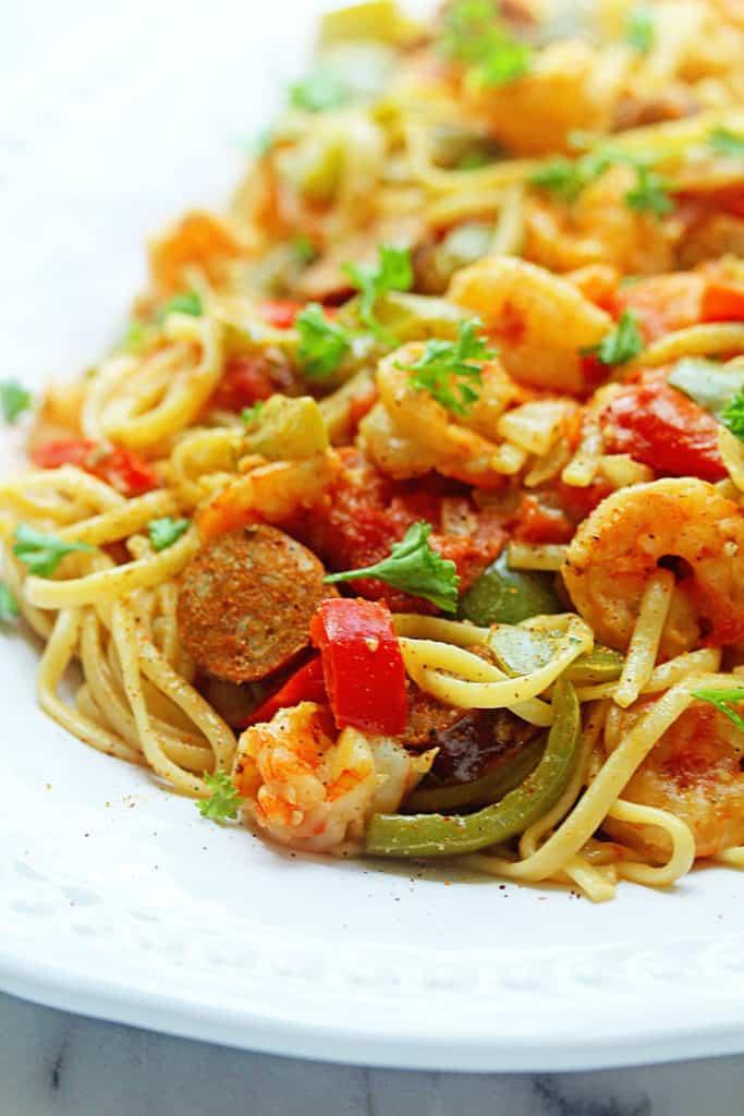Cajun Shrimp Pasta Recipe | Grandbaby Cakes