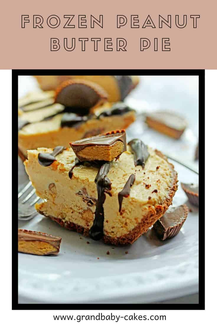 Deliciously simple Frozen Peanut Butter Pie, the perfect icebox treat for a hot summer filled with rich peanut butter and whipped cream flavor and chopped peanut butter cups. #pie #peanut #peanutbutter