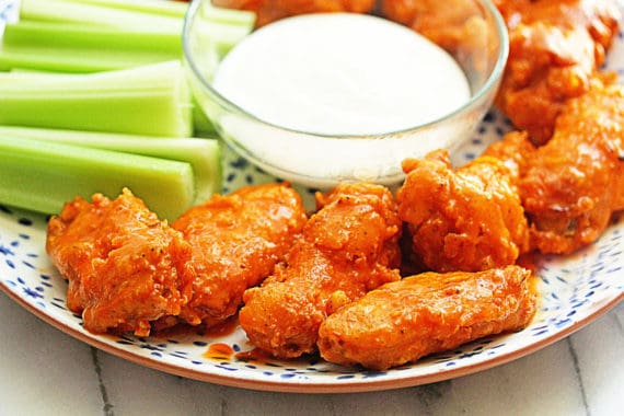 Crispy Buffalo Wings 3 570x380 - The BEST Buffalo Wings (BETTER Than Hooters Wings)
