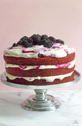 Red Velvet Blackberry Cake