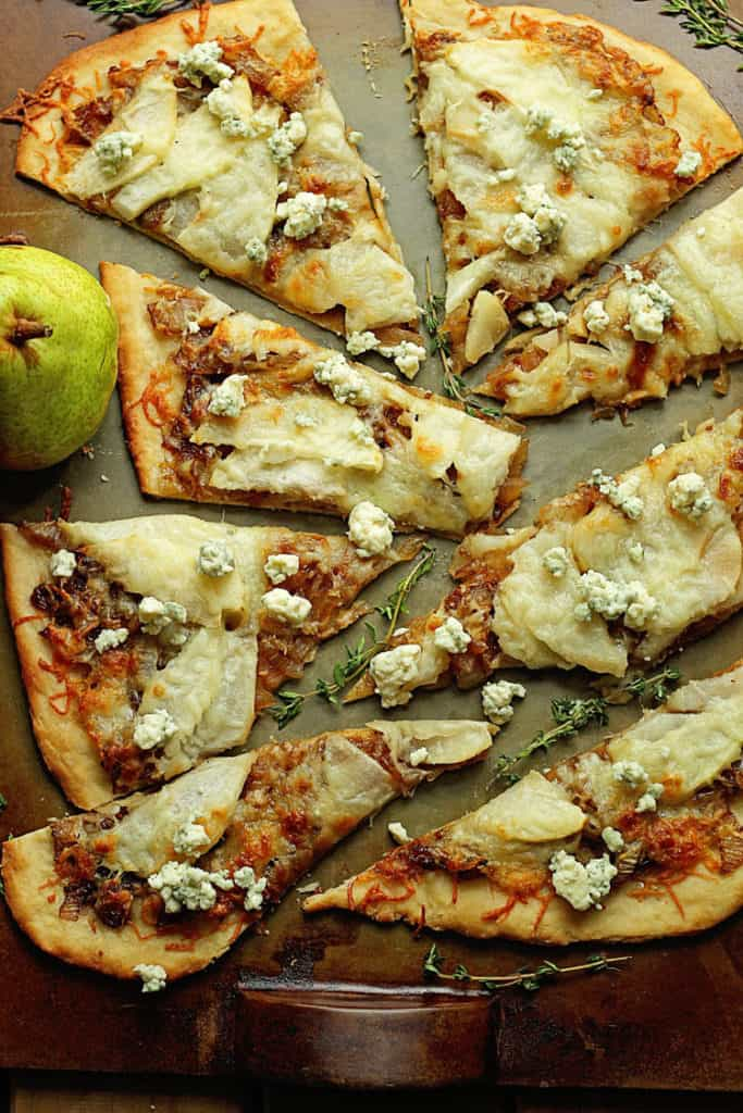 Cheesy Caramelized Pear Flatbread 3 683x1024 - Caramelized Pear Flatbread