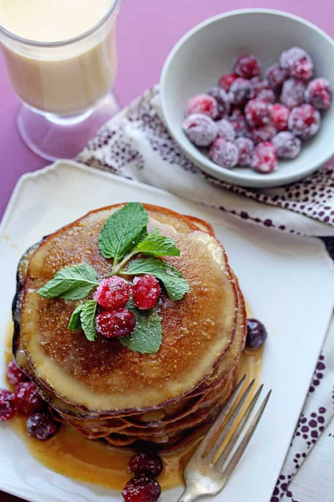Gingerbread Pancakes with Eggnog Syrup | Grandbaby Cakes
