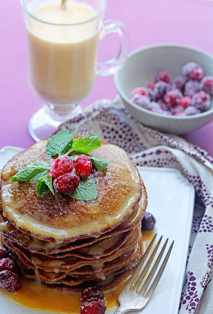 Gingerbread Pancakes 4 696x1024 - Gingerbread Pancakes Recipe with Eggnog Syrup
