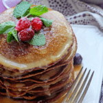 Gingerbread Pancakes with Eggnog Syrup