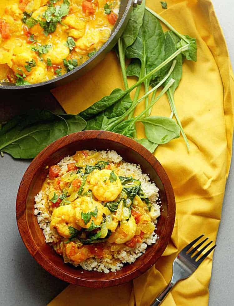 Light Shrimp Curry 1 - Light Shrimp Curry with Spinach over Cauliflower Rice