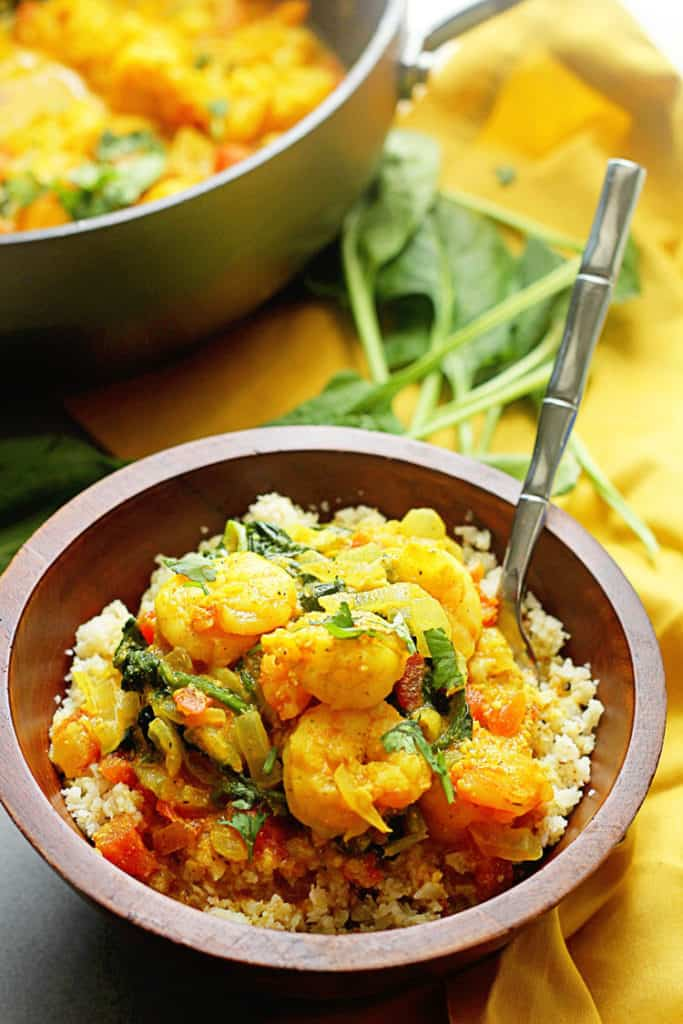 Light Shrimp Curry 2 683x1024 - Light Shrimp Curry with Spinach over Cauliflower Rice