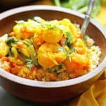 A Delicious Light Curry Shrimp with Spinach served over Cauliflower Rice (Great for Paleo Diets!) | Grandbaby Cakes