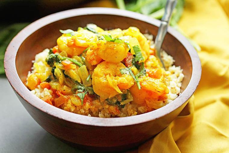 Light Shrimp Curry 3 - Light Shrimp Curry with Spinach over Cauliflower Rice