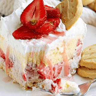 Girl Scout Cookies Strawberry Ice Cream Cake using Trefoils