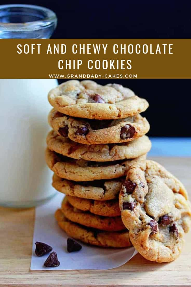 These perfect soft and chewy chocolate chip cookies are the best you will ever find.  They take your favorite chocolate chip cookies recipe to another level! #cookies #chocolate #chocolatechip